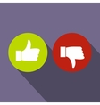 Thumbs up and down icon flat style vector image