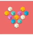 Isometric love heart symbol emoticons icons vector image