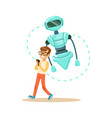 boy controlling his robot with mobile phone vector image