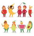 cartoon kids fruits festive costume boys and girls vector image
