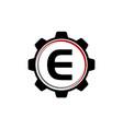 Gear solution logo letter e vector image
