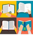 Hands holding books vector image
