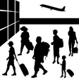 Silhouettes of people with baggage going to travel vector image
