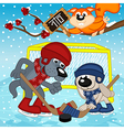 wolf rabbit play hockey vector image