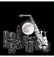 saxophone on a background of the moon and city vector image