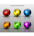 Set of six glossy colored Earth globes vector image vector image