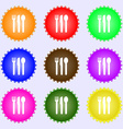 fork knife spoon icon sign A set of nine different vector image