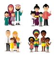African asian arab and european families vector image