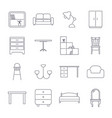 collection of home furniture icons in thin line vector image