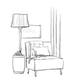 Hand drawn room interior Chair and lamp vector image