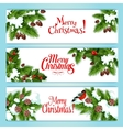 Christmas tree holly berry banner for xmas design vector image