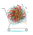Shopping words in cart for your design vector image vector image