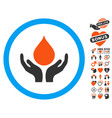 blood donation hands icon with valentine bonus vector image