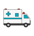 color image cartoon ambulance truck with cross vector image
