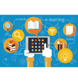 Hands and Tablet School Online E-Learning Icons vector image