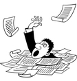 Businessman sinking in heap of documents vector image