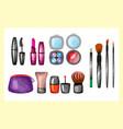 fashion female makeup design glamour brush vector image