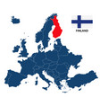 map of europe with highlighted finland vector image
