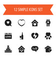 set of 12 editable passion icons includes symbols vector image