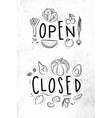 Eco signboard open close vector image
