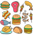 doodle of food delicious various vector image
