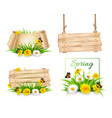 set of spring nature banners with flowers and a vector image