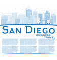 outline san diego skyline with blue buildings and vector image