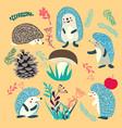 cute hedgehog forest animals set vector image