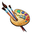 artists palette with paints and brushes isolated vector image