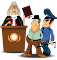 Judge and policeman with criminal vector image