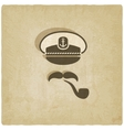 Captain mustache pipe old background vector image