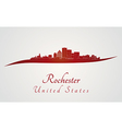 Rochester skyline in red vector image