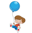 funny boy with balloon vector image vector image