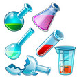 chemical flasks with liquid and broken tube vector image
