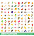 100 grocery icons set isometric 3d style vector image