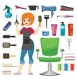 Hairdresser barber girl vector image