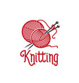 knitting ionc of knit pins and wool clew vector image vector image