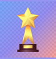 best gold star trophy standing on white shelf vector image