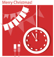 Christmas clock and flags vector image