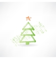 fir-tree grunge icon vector image