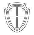Shield icon in outline style vector image