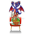 Dragon and castle on TV screen vector image vector image