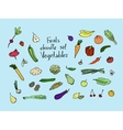 Colored Fruits and vegetables Sketch set vector image