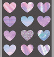 set of different texture hearts vector image