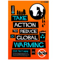 take action to reduce global warming vector image