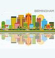 birmingham skyline with color buildings blue sky vector image