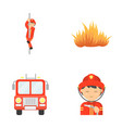 fireman flame fire truck fire departmentset set vector image