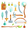 set of fantasy magic weapons vector image