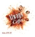 Set Watercolor Coffee Badges 3 vector image