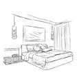 Bedroom modern interior sketch vector image